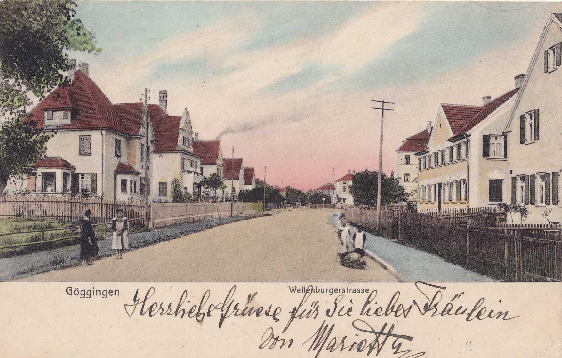 Die Wellenburger Straße und ihre Villen um 1900. – ©Privat Sammlung Gregor Nagler