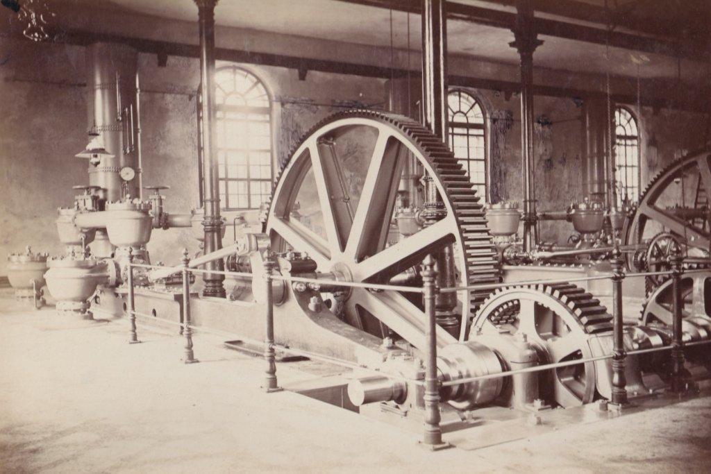 Wasserwerk/Pumpenhaus am Hochablass um 1880 augsburg