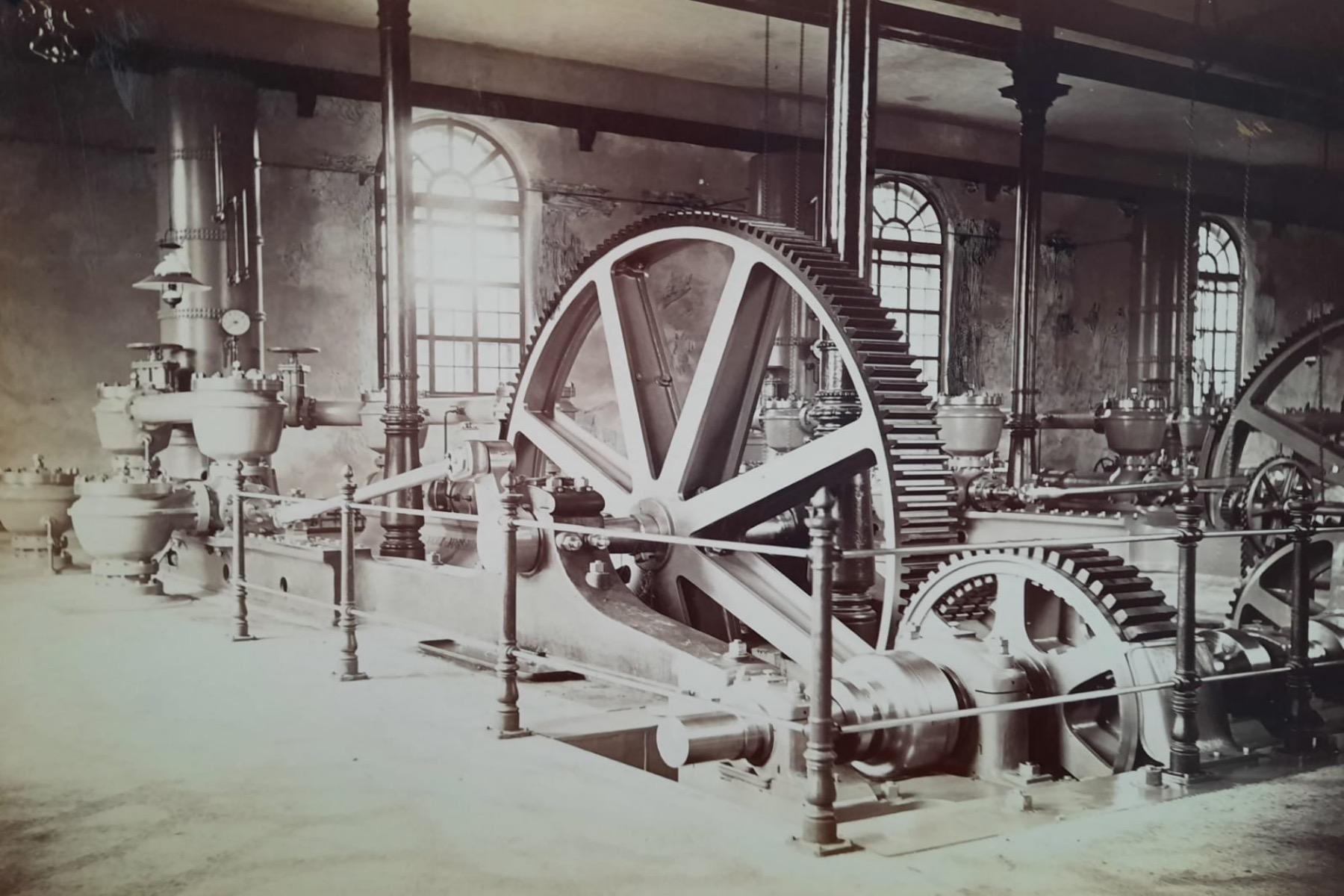 Wasserwerk/Pumpenhaus am Hochablass um 1880 augsburg – ©Privatsammlung Gregor Nagler